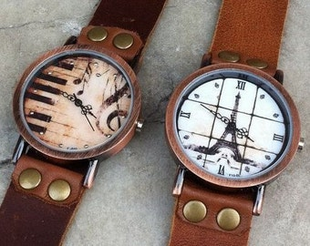 Eiffel Tower Watch, Music Watch, Piano Watch, Retro Watch, Fashion Watch, Women's watch, Men's Watch, Quartz Watch, With Craft Gift Box