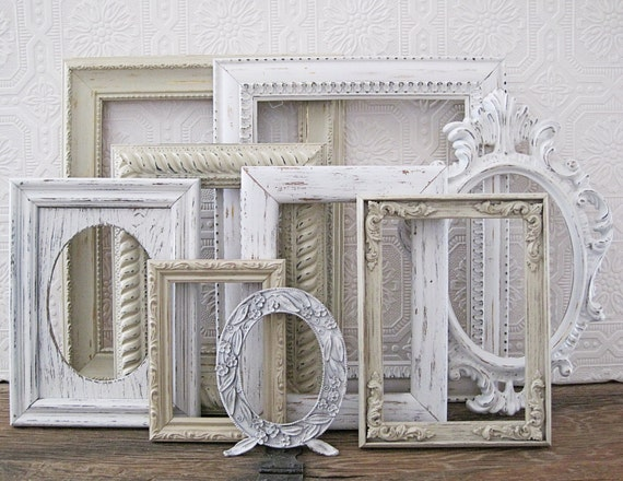 empty picture frame set of 9 antique white shabby chic wall. Black Bedroom Furniture Sets. Home Design Ideas