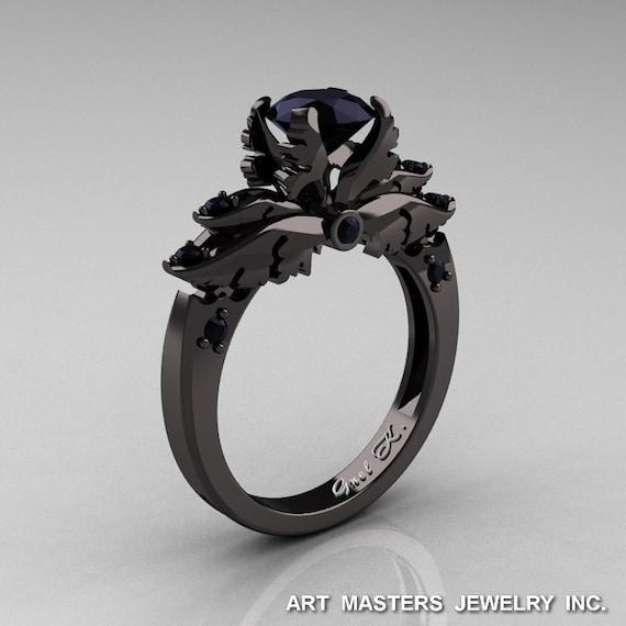 Popolare Classico 14k oro nero 10 carati diamante nero solitario CL14