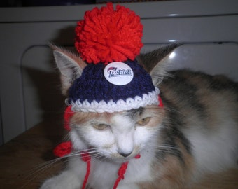 Crocheted Cat or Dog Hats New England Patriots Football Sports Teams Pompom  X-Small and Small