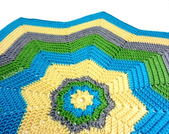 8 point star afghan- turquoise green sunshine grey - baby blanket - handmade by RockinLola