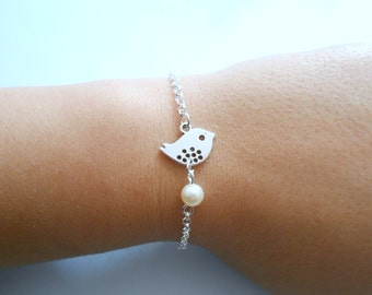 bird bracelet - silver bird bracelet - beads bracelet - bird pendant - bird charm bracelet - charm bracelet