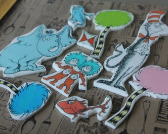 Edible Dr Seuss Themed Cake Toppers 11 Count Mix Pieces - Little Hope Cakes