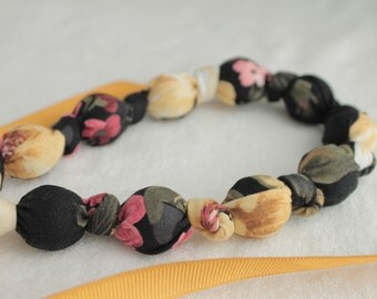 Fabric Statement Necklace,Teething Necklace, Chomping Necklace, Nursing Necklace - Roses on Black
