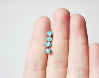 Turquoise earrings,turquoise stud earrings,minimal earrings,tiny stud earrings silver,minimalist earrings,dainty earrings,raw stone earrings