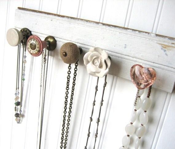 Jewelry Storage / Necklace Organizer on Reclaimed Wood