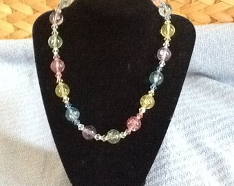 glass beaded necklace, pastel colors
