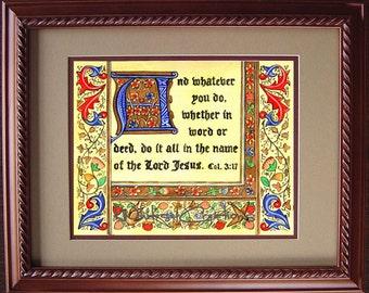 Scripture Art - Colossians 3:17 - Religious Art - Illuminated Scripture - Illustrated Scripture - Unframed