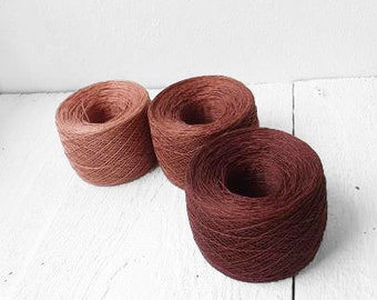 set of 3 balls -laceweight linen yarn in  brown, pinky brown, wild rose - fall autumn collection