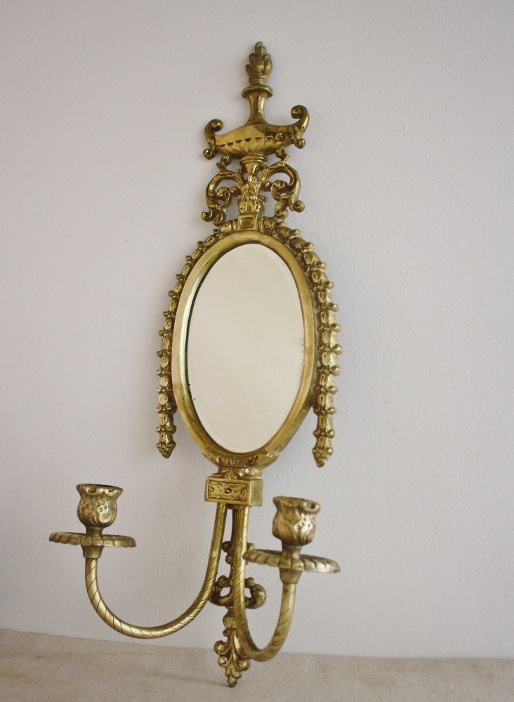 Vintage brass trophy urn style mirror candle holders for Mirror holders
