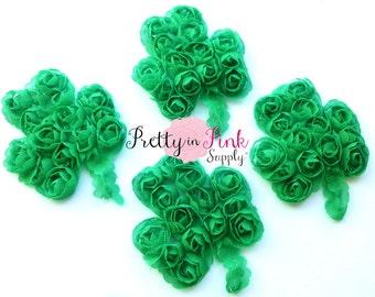 Rosette Shamrock Clover... Choose Quantity....Shabby Flower...Chiffon Shamrocks...St Patrick's Day