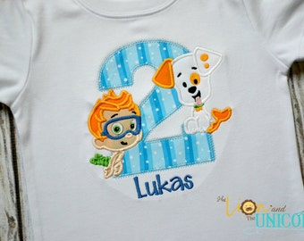 Bubble Guppies First Birthday shirt (Number can be changed) Bubble Puppy and Nonny