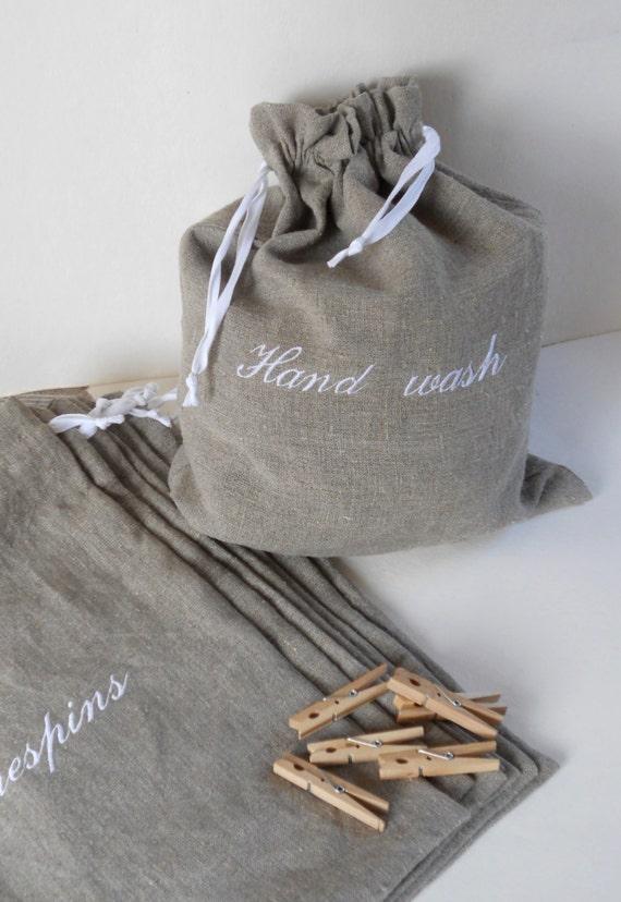Laundry bag gray burlap linen drawstring travel lingerie bag
