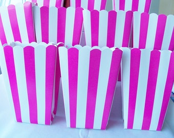 10 Hot pink striped party favour boxes - candy boxes - party favours - circus/fun fair themed boxes