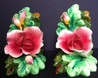 Vintage Italian  art pottery majolica rose bookends, marked ITALY 2840
