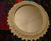 Shabby White Round Mirror Leaf Details