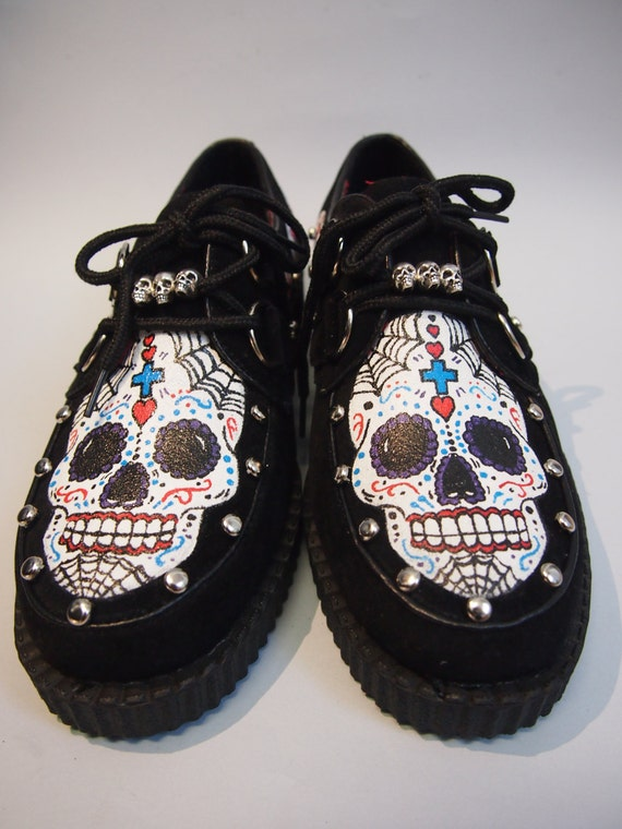 Handpainted shoes Mexican skulls. Creepers Custom made