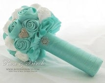 MADE TO ORDER. Vintage Inspired Handmade Satin Roses/Rosette Alternative/Unique Wedding/Bridal Bouquet Deposit