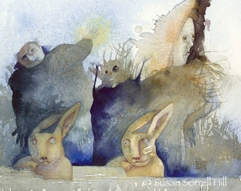 March Hare's Nightmare - Alice in Wonderland - original watercolor painting - surreal rabbit fairytale watercolour - monsters - illustration