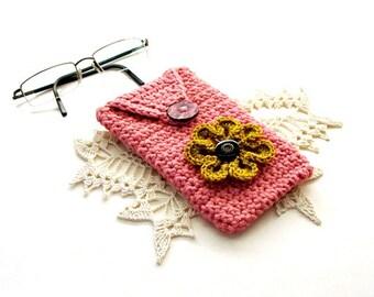 Crochet Eyeglass Case Pink Rose Cotton Sparkle Gold Flower