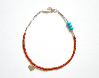 silver bracelet with coral, turquoise and karen hill trive silver beads  ///  skinny stacking beaded bracelet