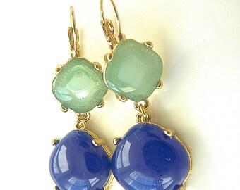 Aqua Mint Seafoam Green and Royal Blue Lapis Bubble Dangle earrings.  Drop earrings. Cocktail Jewelry. High Fashion.