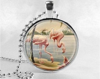 FLAMINGO Necklace, Flamingo Pendant, Flamingo Jewelry, Flamingo Charm, Pink Flamingos, Bird Jewelry