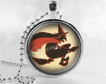 VINTAGE HALLOWEEN Necklace, Witch, Flying Witch, Vintage Witch, Witch Necklace, Broom, Full Moon, Glass Art Necklace, Halloween Jewelry
