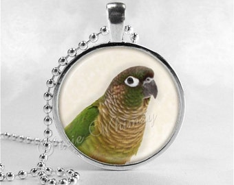GREEN CHEEK CONURE Necklace, Parrot Necklace, Green Cheeked Conure, Bird Necklace, Parrot Jewelry, Parrot Necklace, Bird Necklace