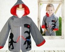 Boys pattern, boys sewing pattern pdf, Boys Hoodie Jacket Coat pattern, Childrens pattern, boys clothing pattern, MONSTER HOODIE
