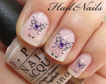 20 Nail WRAPS Nail Art Water Transfers Decals - Purple Butterfly  YD091