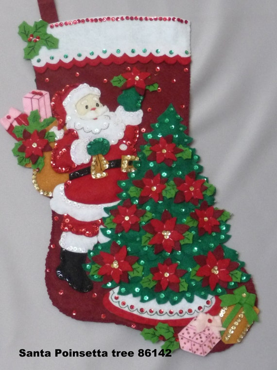 "Bucilla stocking, Christmas, finished, felt, 18"" fully lined , hand sewn, personalized, finished ""Santa Poinsetta Tree"" Heirloom quality"