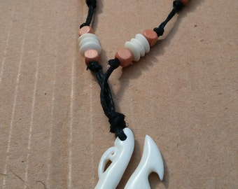 Adjustable Hemp Necklace with Real Bone Charm and Bone beads