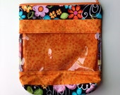 Orange and Black Floral Peek-A-Boo Bag