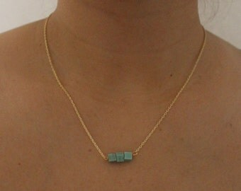 Turquoise dainty gold necklace