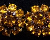 Citrine yellow gold brown Rhinestone clip-on earrings floral flowers