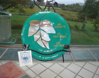 Live, Laugh, Love, Maple Leaf Fused Glass Plate