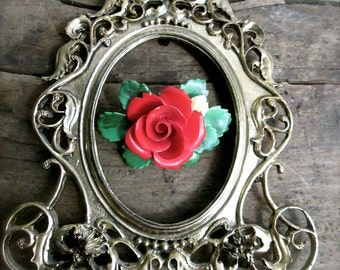 Vintage Brooch Red Rose Cara China  Staffordshire Made In England Flower Brooches Pins  Mothers Day Vintage jewelry   Wedding Something Old