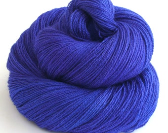 Hand dyed yarn - lace weight 55/45 Superwash BFL and silk -bright Marine blue