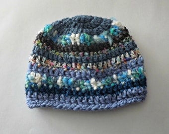 Kids Hat, Child Serendipity Hat -boho hat- blues turquoise sparkle FUN oh so much texture and One Of A Kind
