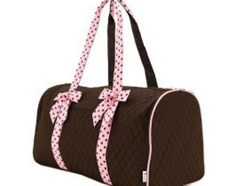 large duffle bag, brown and pink