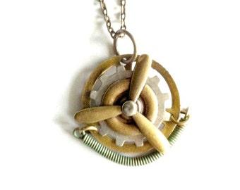 Steampunk Propeller Necklace mixed metal Handmade Gift