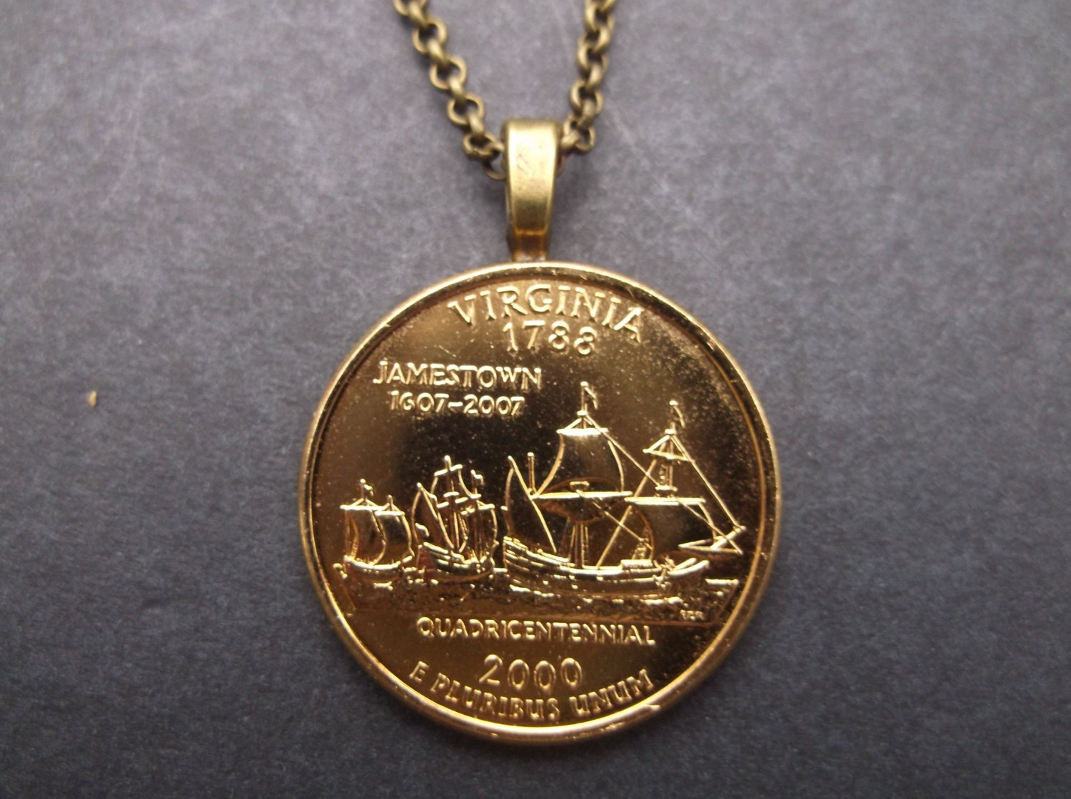 Virginia United States Gold Colored Quarter Coin Necklace
