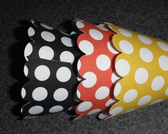Polka Dot Cupcake Wrappers Set of 12 Mickey Mouse Inspired