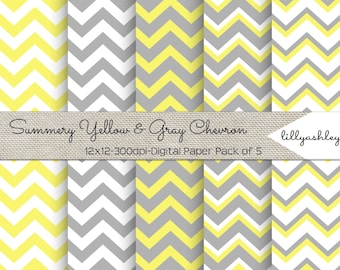 Summery Yellow & Gray Chevron Digital Paper Pack of 5--12x12 JPG Downloadable Papers Chevron Pattern in Yellow and Gray