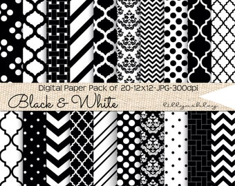 Black & White Digital Paper Pack of 20 SALE--12x12 JPG Digital Papers in Black and White Patterns Downloadable Papers