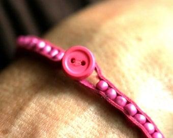 Leather Bracelet - Button Clasp - Multiple Colors Available - Beaded Bracelet - Leather Beaded Bracelet