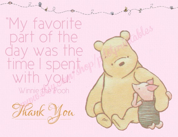 Pink Classic Winnie the Pooh Thank You Card - Instant Download