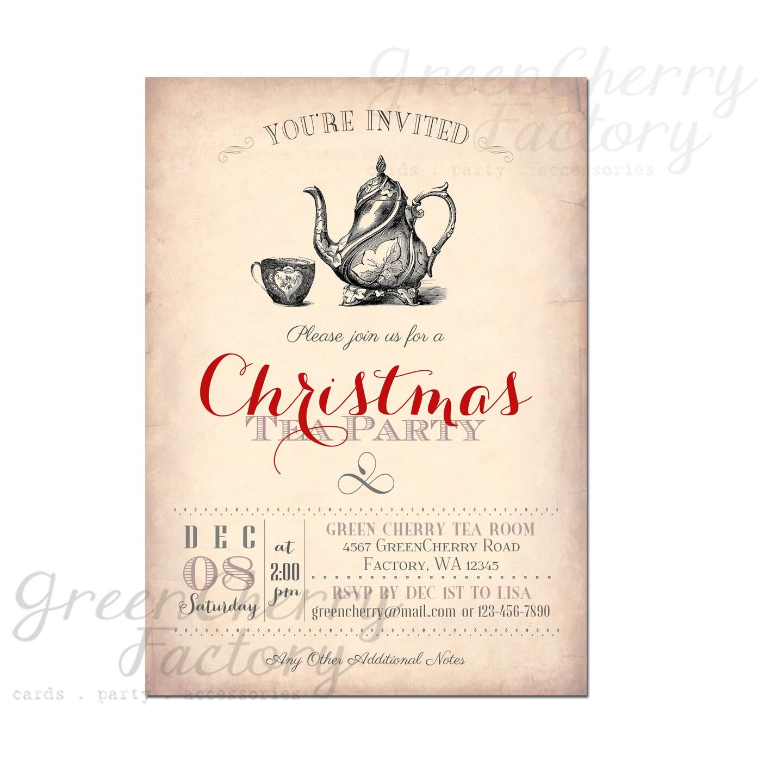 Christmas Tea Party Ideas: Items Similar To Christmas Tea Party Invite