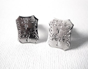 Vintage Sterling Silver Cufflinks Monogrammed With The Initials RA Makers Mark ML